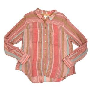 Maeve by Anthropologie Boho Tinsel Knit Button Up